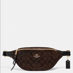 Coach Belt Bag In Signature Canvas Brown/Black
